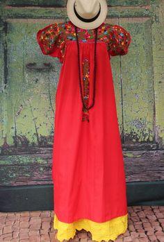 Red & Multi Color Mexico San Antonio Wedding Dress, Boho Hippie Santa Fe Style #Handmade #MexicanDress