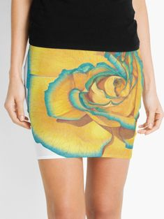"""""""Yellow and Turquoise Rose"""" Mini Skirt by -LAM- Polychromos, Knitted Fabric, Colored Pencils, Mini Skirts, Turquoise, Yellow, Knitting, Rose, Unique"""