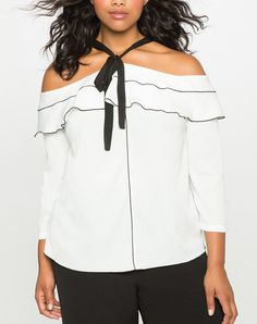 View our Off the Shoulder Ruffle Top and shop our selection of designer women's plus size Tops, clothing and fashionable accessories. Plus Size Fall Fashion, Autumn Fashion, Fashion To Figure, Black And White Style, Fashion Seasons, Fashion Beauty, Fashion Tips, Ruffle Top, Plus Size Tops