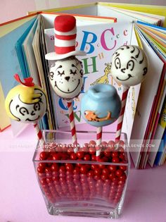 Dr. Seuss cake pops - adorable for kids bday http://www.mysweetindulgence.com/