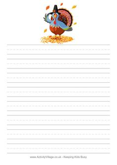 Save A Turkey Writing Paper Thanksgiving Writing, Thanksgiving Activities For Kids, Thanksgiving Turkey, Lined Writing Paper, Second Grade Writing, Writing Lines, Pen Pal Letters, Kindergarten Writing, Stationery