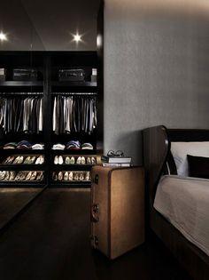 ♂ Masculine and contemporary interior design a bed room with dark closet. #dark #interior #masculine #closet