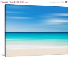 Ocean Photography Canvas Gallery Wrap Large Wall Art Beach Decor Caribbean Sea Photo Oversized Print Aqua Turquoise Teal Navy Blue Beige