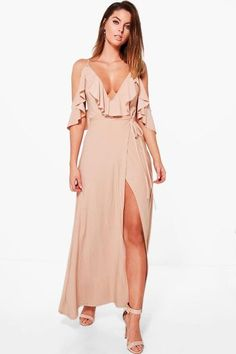 a8c6dafb459 Lyla Frill Detail Drop Shoulder Wrap Tie Maxi Dress by Boohoo. Dresses are  the most