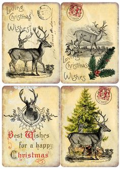 omnia praeclara rara: Free X-Mas-deercards for you. Christmas Graphics, Free Christmas Printables, Noel Christmas, Christmas Gift Tags, Christmas Paper, Xmas Cards, Christmas Crafts, Christmas Decoupage, Christmas Ornaments