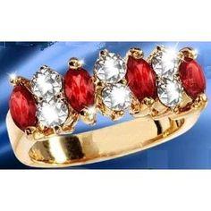 1.4 Ct Garnet & Swarovski Ring - 14K Gold - Size 6 - With Heart Gift Box