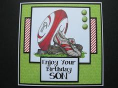 Birthday card for Son using Just inklined digistamp Rugby Six Nations