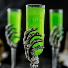 I love making up cocktails especially now that there are so many options with the flavored vodkas. This Embalming Fluid Cocktail will help you get your ghoul on!! It is fun to make some Halloween specific treats that you can enjoy year after year!! It is not strong at all and tastes like a limeade, DELISH!! This makes the perfect amount for three of these glasses but you may want to double the recipe for a larger one.
