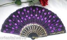 SODIAL(R) Peacock Pattern Sequin Fabric Hand Fan Decorative Hot Pink Color. Peacock pattern folding fan made of sheer cloth, color edging and plastic ribbing. Purple Love, All Things Purple, Shades Of Purple, Deep Purple, Pink Color, Purple Stuff, Teal, Antique Fans, Vintage Fans