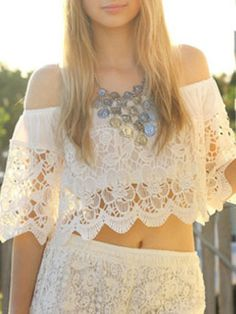 White Lace Layer Off The Shoulder Crop Top | Choies