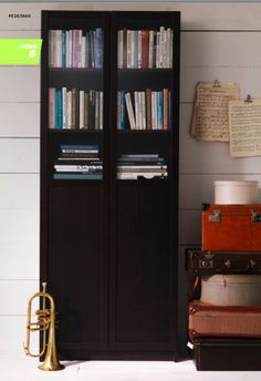 IKEA Billy bookcase on either side of horizontal Kallax shelf Billy Bookcase With Doors, Bookcase Door, Built In Bookcase, Bookshelves, Tall Cabinet Storage, Locker Storage, Book Storage, Kallax Shelf, Decorative Storage