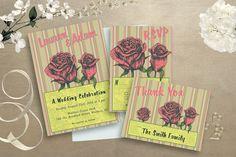 Floral Wedding Invitation, Retro Invitation, Mid Century Stationery, 1950's Wedding Stationery Set, Printable Stationery by GawkVintageStationer on Etsy