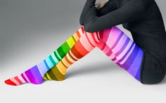 Rainbow striped tights.... I want these, I don't like tights, but if they were cottony, I'd cut off the tops and wear them as thigh high socks; & if they are nylon, I'd cut off the feet and wear them like leg warmers. :D