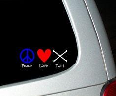 Peace Love Twirl Baton Twirling Window Decal