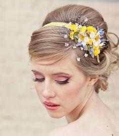 Spring flowers headband, headbands for women and weddings, wedding hair, Bridal Hair Accessory, Wedding Accessories, Bridesmaid Hair Flower. $40.00, via Etsy.