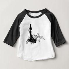 Floral Pattern Wedding Bride Silhouette Baby T-Shirt - bridal gifts bride wedding marriage