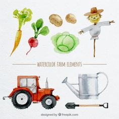 Watercolor hand painted farm elements Free Vector