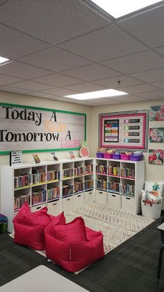 happy with how my classroom library turned out!So happy with how my classroom library turned out! Reading Corner Classroom, Classroom Layout, 5th Grade Classroom, Middle School Classroom, New Classroom, Classroom Design, Classroom Themes, Kindergarten Reading Corner, Classroom Organization
