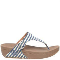 434547f195f28a Cocosa - Blue   White Stripe Fitflop Sandal - cocosa.co.uk