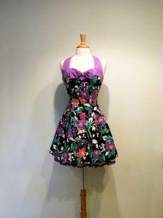 vintage black and purple floral party dress