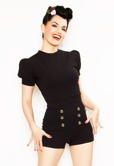 Rockabilly 40's Style Sailor Pin Up Grable Shorts, Black