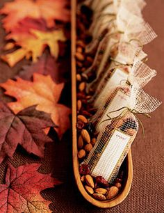Style Ideas for a Rustic Fall Reception: For an after-ceremony snack, adorn bags of berry-and-almond trail mix with ribbons.