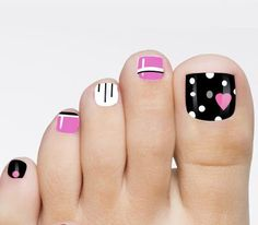 Black -  White - Pink - Silver Glitter - Polka Dots - Hearts - Stripes - Toe Nail Design