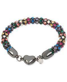 Betsey Johnson Hematite-Tone Multi-Crystal Heart Bracelet   macys.com