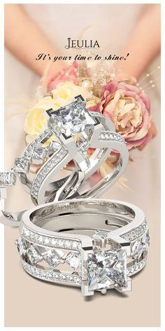 Jeulia Interchangeable Princess Cut Created White Sapphire Wedding Set #Jeulia