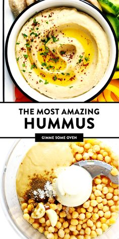 Dec 2019 - Seriously the BEST hummus recipe! It's easy to make in just 10 minutes, super-smooth and creamy, and tastes so fresh and flavorful! Whole Food Recipes, Diet Recipes, Cooking Recipes, Crockpot Recipes, Best Hummus Recipe, Hummis Recipe, Creamy Hummus Recipe, Homemade Hummus Recipe, Hummus Recipe With Tahini