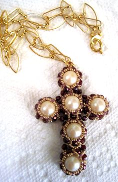 A Cross we wear by Sharon A Kyser Cross Necklaces, Cross Jewelry, Beaded Jewelry, Wire Crosses, Beaded Cross, Rosaries, Beads And Wire, Projects To Try, Crochet Patterns
