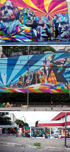 Mural by Eduardo Kobra 3d Street Art, Kobra Street Art, Amazing Street Art, Street Art Graffiti, Love Graffiti, Tile Murals, 3d Painting, Sidewalk Chalk, Banksy
