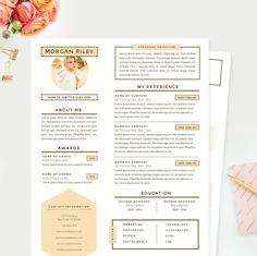 Sunrise Resume Template - www. Sunrise Resume T Graphic Design Resume, Cv Design, Resume Design Template, Cv Template, Resume Templates, Creative Resume Design, Templates Free, Layout Design, Cover Letter Example