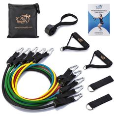 Tribe 11PC Premium Resistance Bands Set with Door Anchor Workout Bands Ha...
