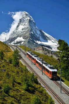 Swiss mountain train, over at the Eiger plateau