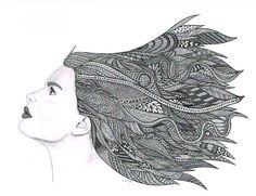 Pencil and Pen drawing Art Print  Windy Day por LimeGreenArtShop
