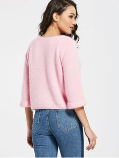 Curled Sleeve Fuzzy Chunky Sweater - PINK ONE SIZE