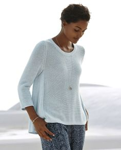 Poetry - Swingy tape yarn sweater - This soft cotton sweater is designed with side panels and godets to create a lovely swingy silhouette. With a wide scoop neckline, three-quarter length sleeves and a ribbed stitch detail down the centre back-seam the easy curved hemline is slightly longer at the back. 100% cotton