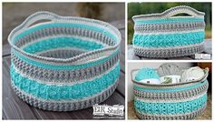 A free crochet pattern of the sea glass basket. Do you also want to crochet this basket? Read more about the pattern of the sea glass basket. Crochet Storage, Crochet Diy, Crochet Rope, Crochet Crafts, Single Crochet, Crochet Projects, Crochet Bags, Unique Crochet, Diy Projects