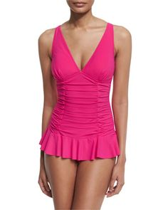 Origami+V-Neck+Swimdress,+Rose+by+Profile+by+Gottex+at+Neiman+Marcus.
