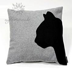Dekokissen, Sofakissen 'cathead', grau, 40 x 40 cm, Kissenbezug inkl. Füllkissen, Katzenkissen, Katzenmotiv, Zierkissen, Schmusekissen