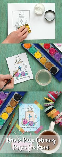 How to Prep Coloring Pages for Paint   Learn how to prepare coloring pages for watercolor or acrylic paint. Also, snag a free printable coloring page in the post! pitterandglink.com