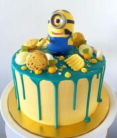 This artistic creation via Yellow Birthday Cakes, 3rd Birthday Cakes, Birthday Wishes, Cupcakes Dos Minions, Fondant Minions, Cake Name Edit, Bolo Minion, Birthday Cake Write Name, Happy Birthday Minions