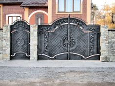 A gate or gateway is a point of entry to space which is enclosed by walls. Gates may prevent or control the entry or exit of individuals, or they may be Steel Gate Design, Front Gate Design, Main Gate Design, House Gate Design, Door Gate Design, Metal Gates, Wrought Iron Gates, Compound Wall Gate Design, Welcome Signs Front Door