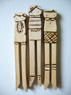 Wooden Granny Pegs. With people wood burned onto them & a magnet on the back. Quick to make & a pretty gift too ;)
