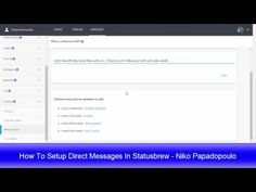 How To Setup Direct Messages In Statusbrew (Episode 17 of the #NikoRandomTipsShow) — Niko Papadopoulo - Inspired to live free
