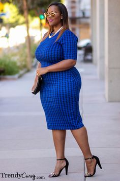 blue houndstooth dress Plus Size Fashion #UNIQUE_WOMENS_FASHION