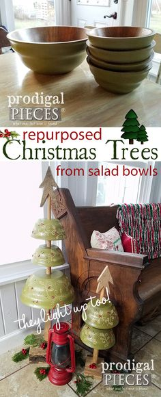 So cute! Who knew a set of old wooden salad bowls could look so whimsical as repurposed Christmas trees? See how Larissa of Prodigal Pieces did it here at prodigalpieces.com