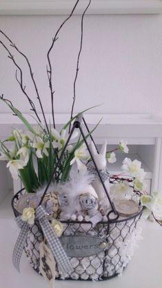 Osterdeko Ostern Frühling Tischgesteck Ostereier Osterhase Shabby neu Hase grau