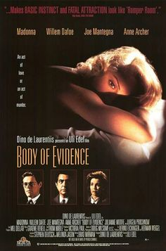 Body of Evidence , starring Madonna, Willem Dafoe, Joe Mantegna, Anne Archer. A woman is accused of killing a man to inherit his millions by having sex with him. Movies To Watch Free, Good Movies, Movies 2014, Anne Archer, Witness For The Prosecution, Joe Mantegna, Body Of Evidence, Romper Room, Willem Dafoe